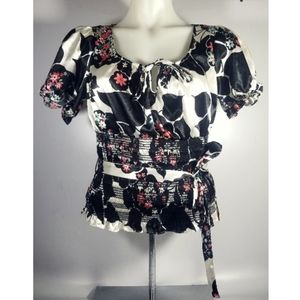 XOXO Black & White Puff Sleeve Smock Waist Blouse